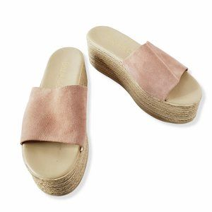 BOZIKIS GREECE Nude Pink Suede Wedge Espadrilles